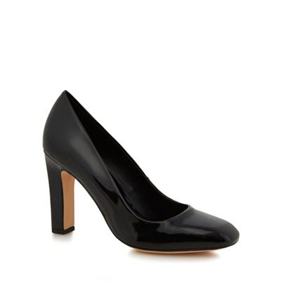 J by Jasper Conran - Black patent 'Julio' high block heel court shoes