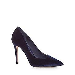 J by Jasper Conran - Navy velvet 'Jiggle' high stiletto heel pointed court shoes
