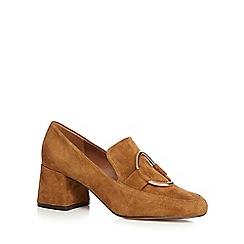 J by Jasper Conran - Tan suede 'Jilt' mid block heel loafers