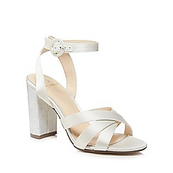 No. 1 Jenny Packham - Ivory satin 'Pearl' high block heel ankle strap sandals