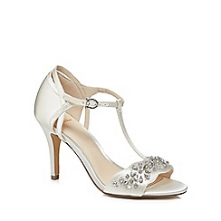 No. 1 Jenny Packham - Ivory satin 'Phoebe' high stiletto heel t-bar sandals