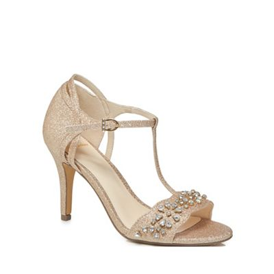 No. 1 Jenny Packham - Metallic glitter 'Phoebe' high stiletto heel t-bar sandals