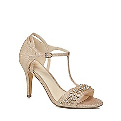 No. 1 Jenny Packham - Gold glitter 'Phoebe' high stiletto heel t-bar sandals