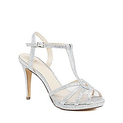 No. 1 Jenny Packham - Silver glitter 'Paradise' high stiletto heel T-bar sandals