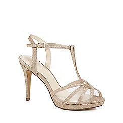 No. 1 Jenny Packham - Gold glitter 'Paradise' high stiletto heel T-bar sandals
