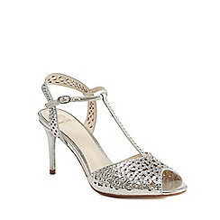 No. 1 Jenny Packham - Silver diamante 'Petra' high stiletto heel T-bar sandals