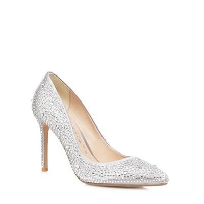 No 1 Jenny Packham Silver Satin Diamante Stiletto Heel Court Shoes B0771SWH3H