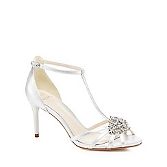 No. 1 Jenny Packham - Metallic satin 'Perdita' high stiletto heel T-bar sandals