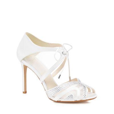 2d34f1418 1 Jenny Packham Ivory satin  Peyton  high stiletto heel peep toe sandals
