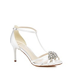 No. 1 Jenny Packham - Ivory satin 'Perdita' high stiletto heel T-bar sandals