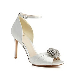 No. 1 Jenny Packham - White satin 'Pansy' high stiletto heel peep toe sandals