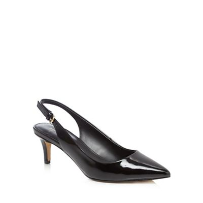 J by Jasper Conran - Black leather 'Jenga' mid kitten heel slingbacks