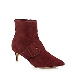 J by Jasper Conran - Dark red suede 'Justice' mid stiletto heel ankle boots