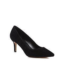 J by Jasper Conran - Black suede 'Jasmina' mid kitten heel pointed shoes