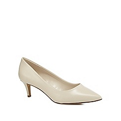 J by Jasper Conran - Off white leather 'Jitten' mid kitten heel pointed shoes