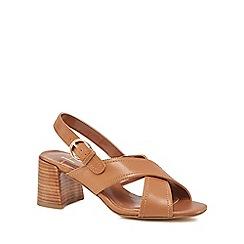 J by Jasper Conran - Tan leather 'Jo' mid block heel ankle strap sandals