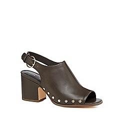 J by Jasper Conran - Khaki leather 'Jennie' mid block heel mules