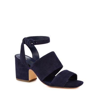 J by Jasper Conran - Navy suede 'Joz' mid block heel ankle strap sandals