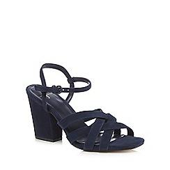 J by Jasper Conran - Navy suede 'Julia' high block heel ankle strap sandals