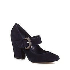 J by Jasper Conran - Navy suede 'Jubs' high block heel Mary Jane court shoes