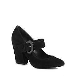 J by Jasper Conran - Black suede 'Jubs' high block heel Mary Jane court shoes