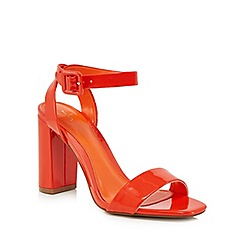 J by Jasper Conran - Orange patent 'Jessica' high block heel ankle strap sandals