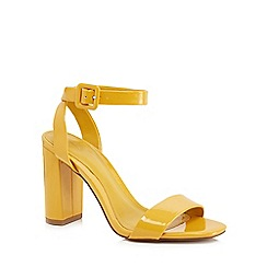 J by Jasper Conran - Yellow patent 'Jessica' high block heel ankle strap sandals