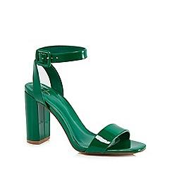 J by Jasper Conran - Green patent 'Jessica' high block heel ankle strap sandals