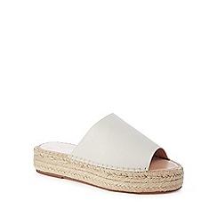 J by Jasper Conran - Ivory leather 'Janine' mid flatform espadrille mule sandals