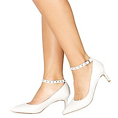Faith - White leatherette 'Cloclo' mid stiletto heel court shoes