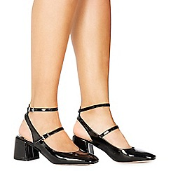 Faith - Black patent 'Cersei' mid block heel court shoes
