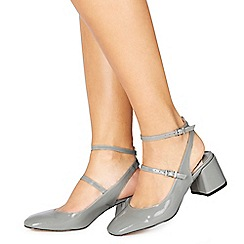 Faith - Grey patent 'Cersei' mid block heel court shoes
