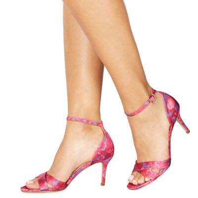 Faith - Pink satin 'Darcy' high stiletto heel ankle strap sandals