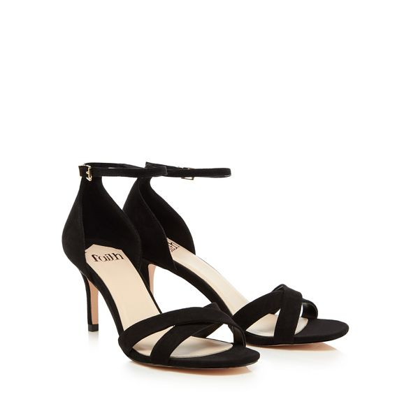 strap stiletto Faith suedette Black 'Darcy' high sandals heel ankle c6cq1fnH