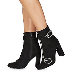 Faith - Black suedette 'Bowey' high block heel ankle boots