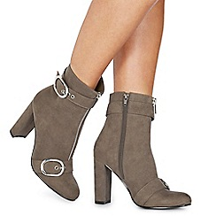 Faith - Grey suedette 'Bowey' high block heel ankle boots