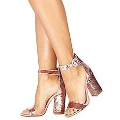 Faith - Pink 'Danielle' high block heel ankle strap sandals
