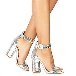 Faith - Silver 'Danielle' high block heel ankle strap sandals