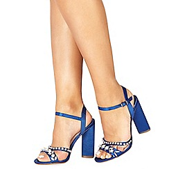 Faith - Blue 'Dany' high block heel ankle strap sandals