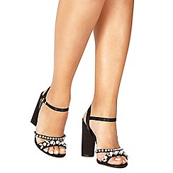 Faith - Black 'Dany' high block heel ankle strap sandals