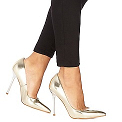 Faith - Gold 'Coco' high stiletto heel pointed shoes