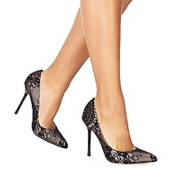 Faith - Black lace 'Coco' high stiletto heel pointed shoes