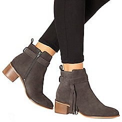 Faith - Grey suede 'Bolt' mid block heel ankle boots