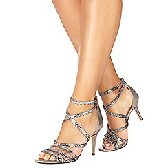 Faith - Silver 'Leia' high stiletto heel ankle strap sandals