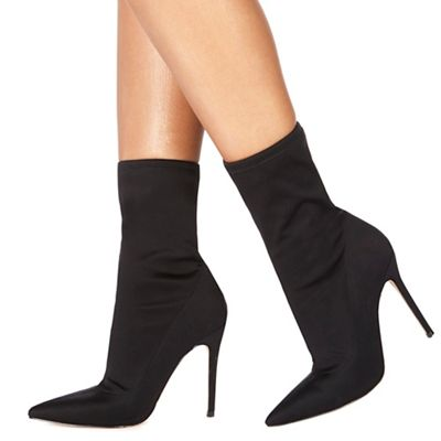Faith - Black 'Bright' high stiletto heel ankle boots