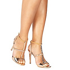 Faith - Rose gold 'Lindsay' high stiletto heel T-bar shoes