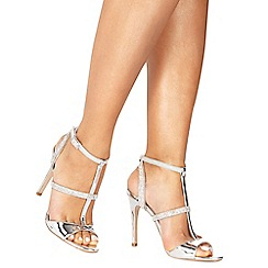 Faith - Silver 'Lindsay' high stiletto heel T-bar shoes