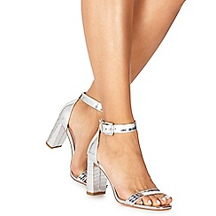 Faith - Silver 'Dorita' high block heel ankle strap sandals