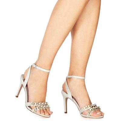Faith - Ivory metallic 'Darha' high stiletto heel ankle strap sandals