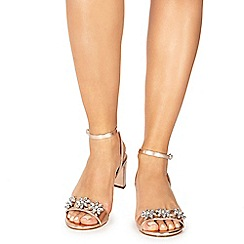 Faith - Rose gold 'Dom-zal' mid block heel ankle strap sandals